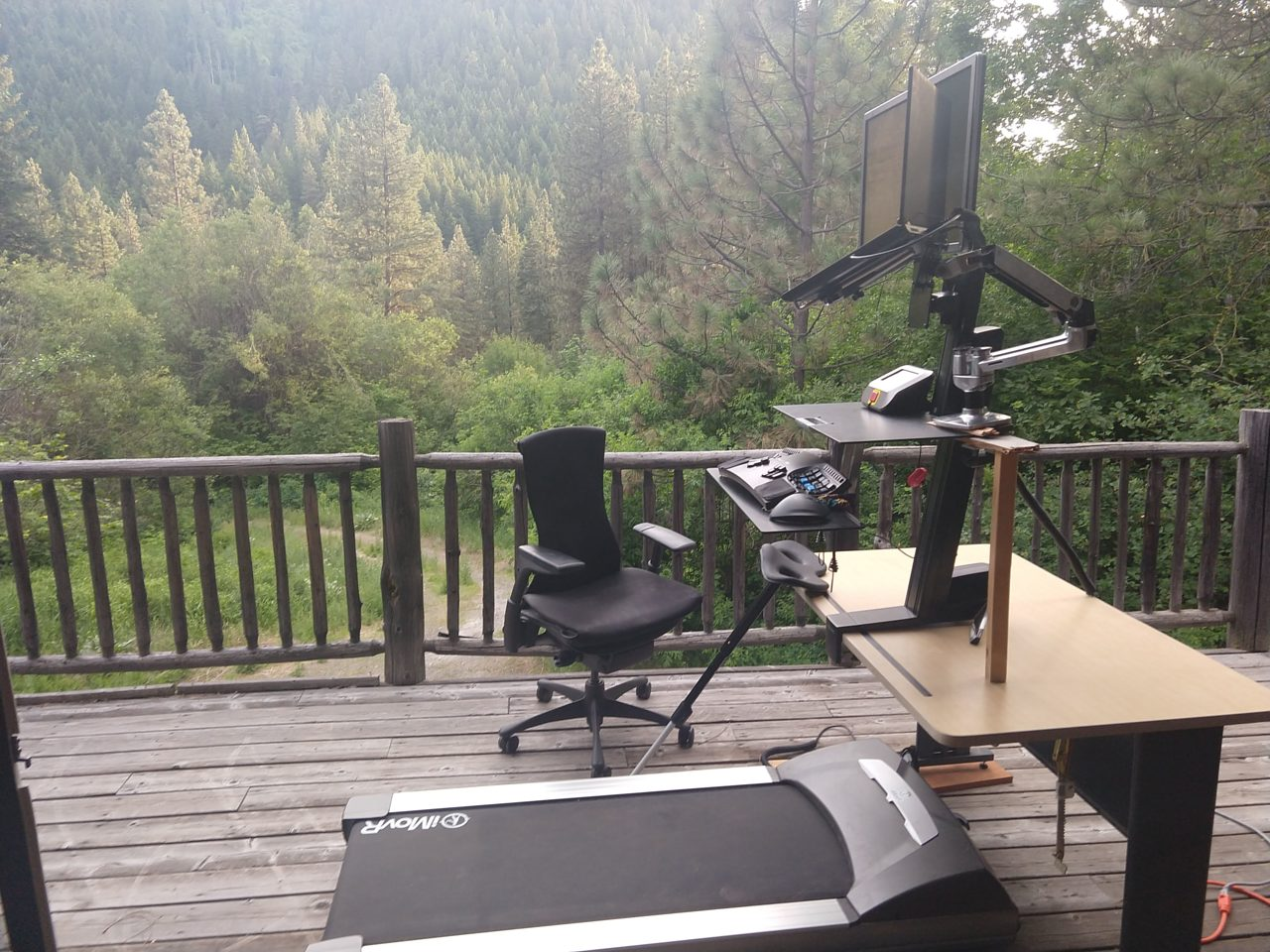 treadmill desk on deck with trees in the background